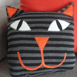 Stripy Cat Cushion or Toy
