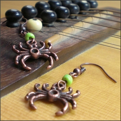 Antique copper spider earrings
