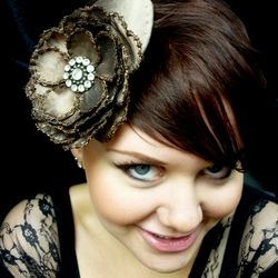Olivia - Silk fascinator with handmade embroidered rose.