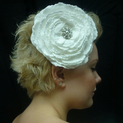 Emily - ivory silk fascinator with embroidered large rose - can be made in your own colour choice