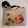Handbag, in Linen with floral appliqué design