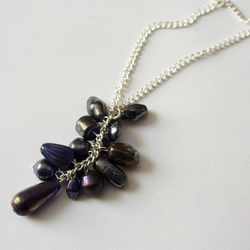 Blue Glass Bead Cluster Silver Chain Necklace - SOLD