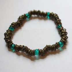 Antique Brass Link Stretch and Sea Green Glass Beaded Bracelet