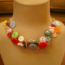 Unique colourful button necklace