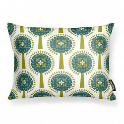 Ivy's Orchard - Teal -      Cushion with Feather Filler