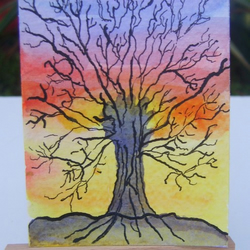 Rainbow scene tree ACEO