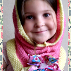 Child's Fondant Pink Hand Knitted Snood / Cowl / Tube Scarf w/ Flower Brooch (will custom different colours and combinations)
