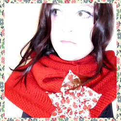 Scarlet Red Hand Knitted Snood / Cowl / Tube Scarf w/ Flower Brooch (will custom different colors)