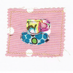 Sewn cup of  tea card