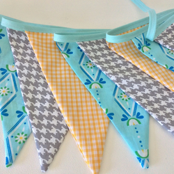 Bunting - yellow, turquoise and grey bunting 12 flags