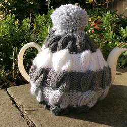 Cable Tea Cosy - grey stripe knitted woolly hug for your tea cosy Father's day
