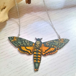 Wooden Deaths Head Moth Necklace,  Moth Jewellery, Deaths Head Hawk Moth
