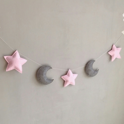 Handmade Pink Stars & Grey Moon Wall Hanging Garland