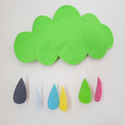 Handmade Green Felt Cloud & Rainbow Rain Drops Wall Hanging Ideal for Nursery