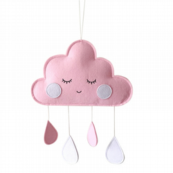 Handmade Blushing Pink Felt Cloud Wall Hanging Ideal for Nursery