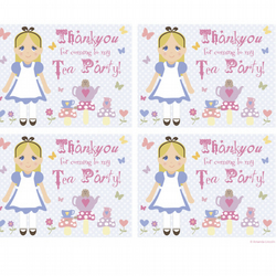 Digital, Printable Alice in Wonderland party Bag Labels. Approx 105 x 77.5 mm