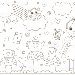 Digital, Printable Alice in Wonderland Colouring Sheet
