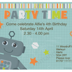 Digital, Printable Robot customized party invitation. 140 x 98mm