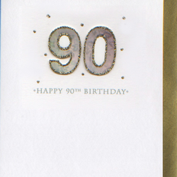 'Happy 90th Birthday' 3D card PFN9