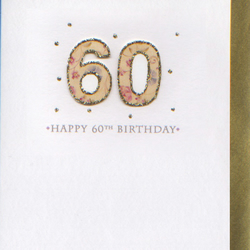 'Happy 60th Birthday' 3D card PFN6