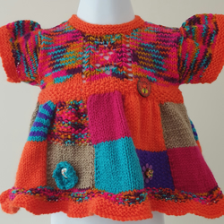 BRAND NEW - Hand Knitted Patchwork Dress Age 0 - 6 Months
