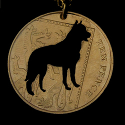 German Shepherd Dog Coin Pendant Necklace Gold Plated British 10 Pence