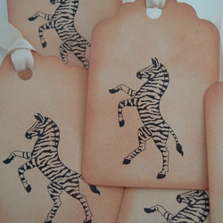 Six Vintage style zebra gift tags retro and ideal for favours and scrapbooking