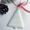 White Christmas tree decorations, fused glass