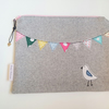 Wool Zipper Pouch, Singing Bird Case, Small Tablet Case, Zipper Wool Purse
