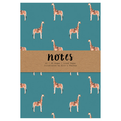 Hand illustrated Giraffe Pattern A5 Lined Printed Notebook