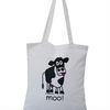 Moo! COW Tote Bag. 100% Cotton. Snow White