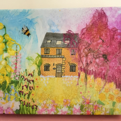 A5 canvas art print of cottage garden flowers