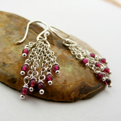 Sterling Silver & Garnet Earrings - FREE UK POSTAGE