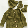 Hand knitted baby cardigan, hat and bootees in luxury alpaca