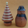 Snowman and Tree in dark hardwood Christmas decorations