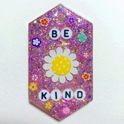 Be kind resin necklace, glittery purple flowery resin pendant