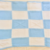 Knitted Blue & White Hearts and Kisses Baby Blanket, Coming Home Blanket