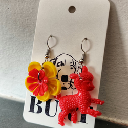 OOAK Upcycled vintage plastic flower and lamb earrings. Super Kitsch.
