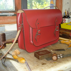 Hand Stitched raspberry leather Satchel