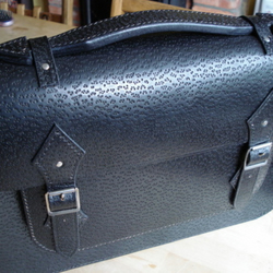 Black Peccary Grain Leather Satchel Messenger Bag/ Laptop Case