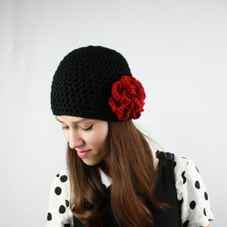 Crochet Black Hat With  Red Flower