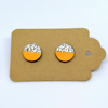 Mini Neon Orange & Silver Chunky Studs