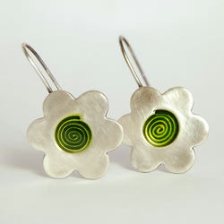 Silver flower and swirl earrings in lime green