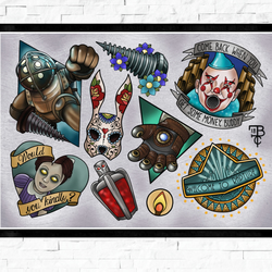 Bioshock gaming poster, Tattoo Style Flash Sheet, A4 or A3, Gamer