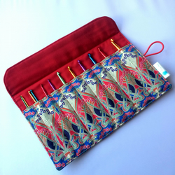 Liberty fabric crochet hook roll, organiser, case, holder, storage