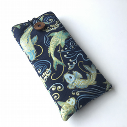 Japanese koi carp fabric glasses case, spectacles case, sunglasses pouch