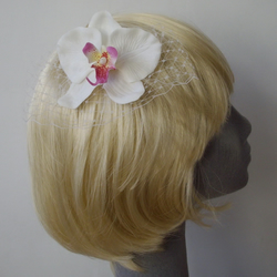 White-Pink Orchid Flower Hair Comb with Veiling
