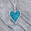 Enamelled Dotty Heart Pendant