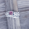 Medium Wave Ring with Pink Tourmaline Size O and a half