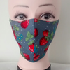 Handmade 3 layers dark grey strawberry reusable adult face mask.